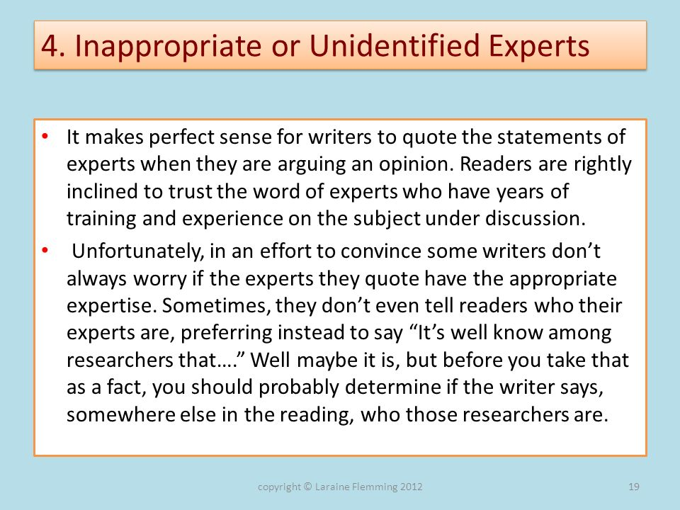 4. Inappropriate or Unidentified Experts