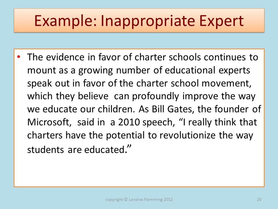Example: Inappropriate Expert