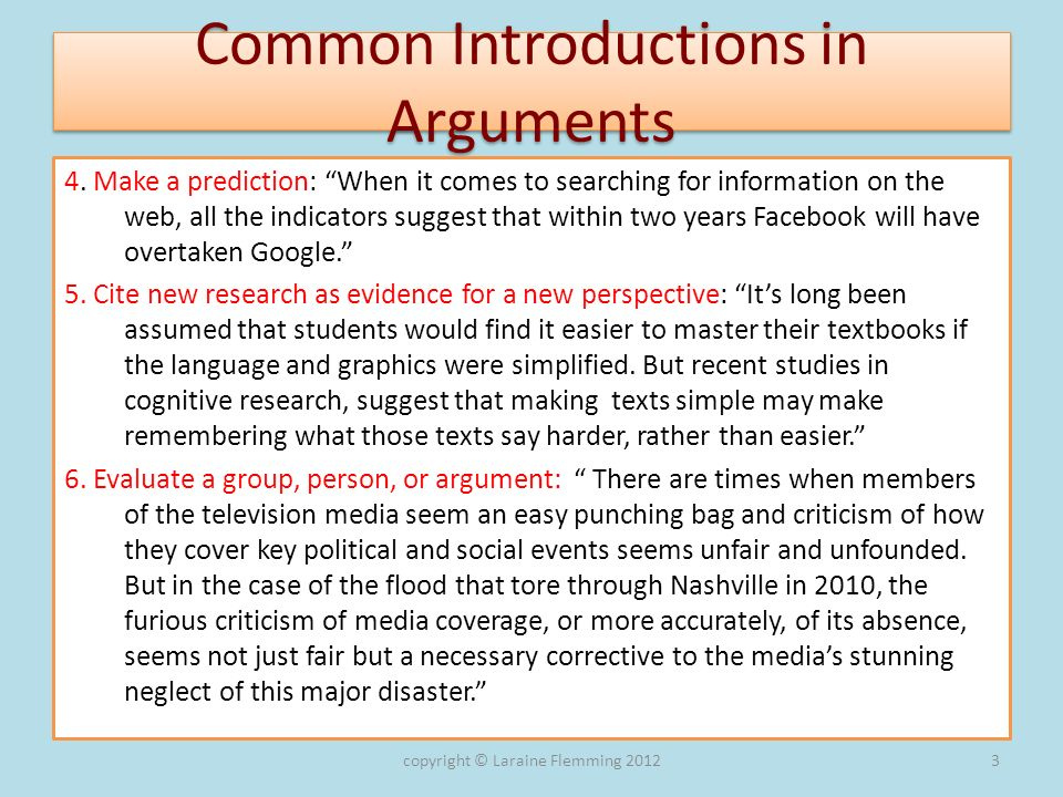 Common Introductions in Arguments