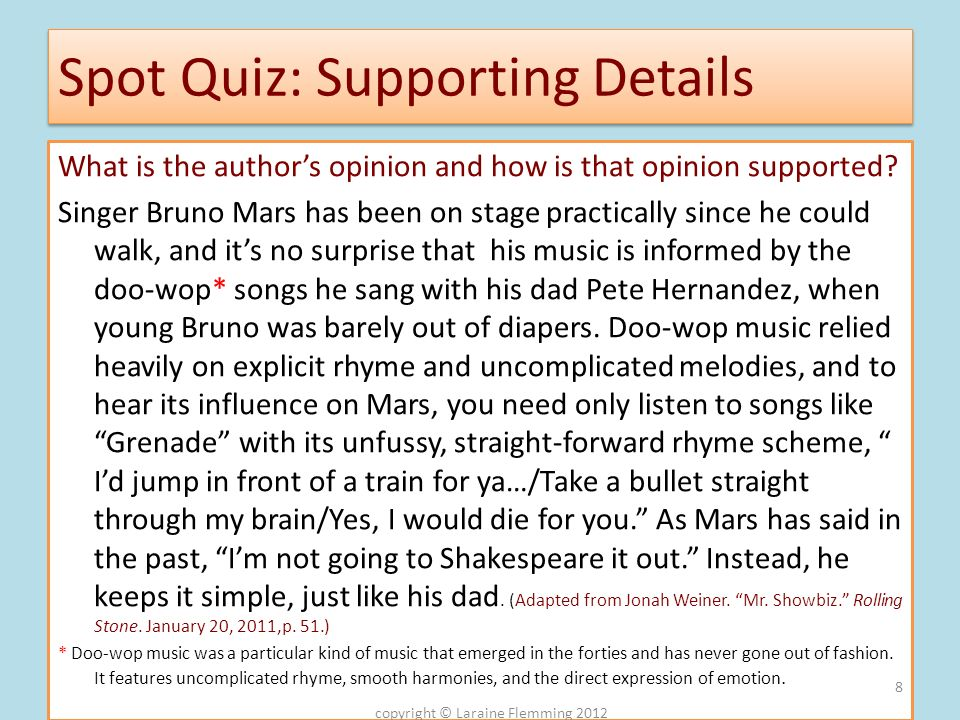 Spot Quiz: Supporting Details
