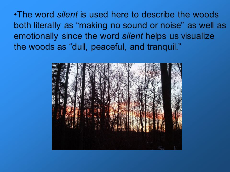 The word silent is used here to describe the woods both literally as making no sound or noise as well as emotionally since the word silent helps us visualize the woods as dull, peaceful, and tranquil.