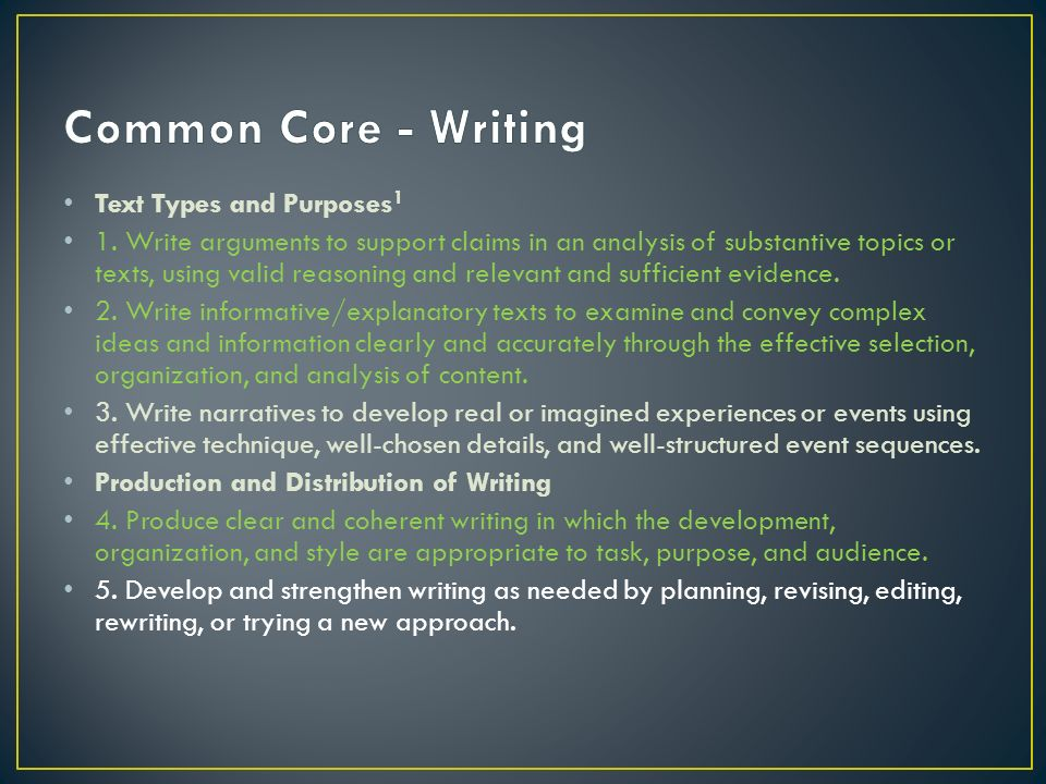 Common Core - Writing Text Types and Purposes1