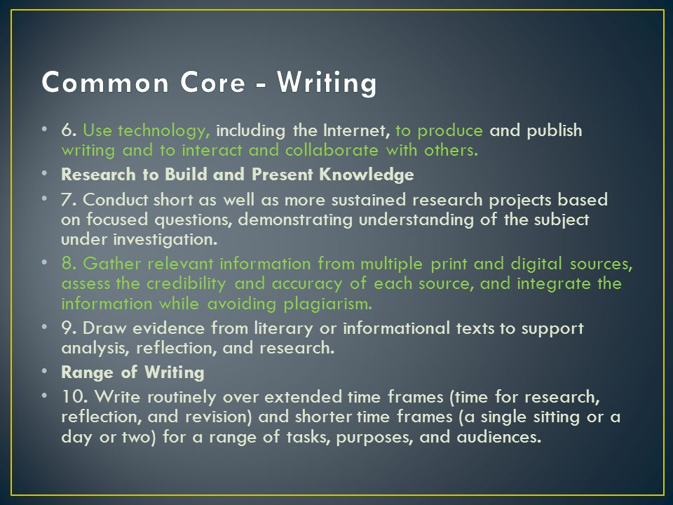 Common Core - Writing 6. Use technology, including the Internet, to produce and publish writing and to interact and collaborate with others.