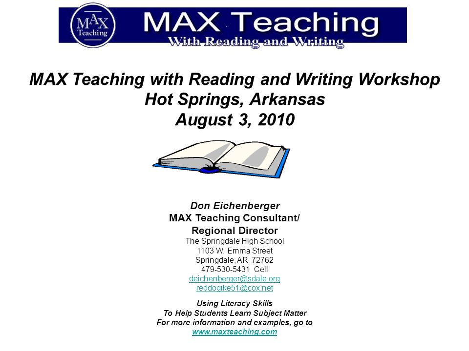 MAX Teaching with Reading and Writing Workshop Hot Springs, Arkansas
