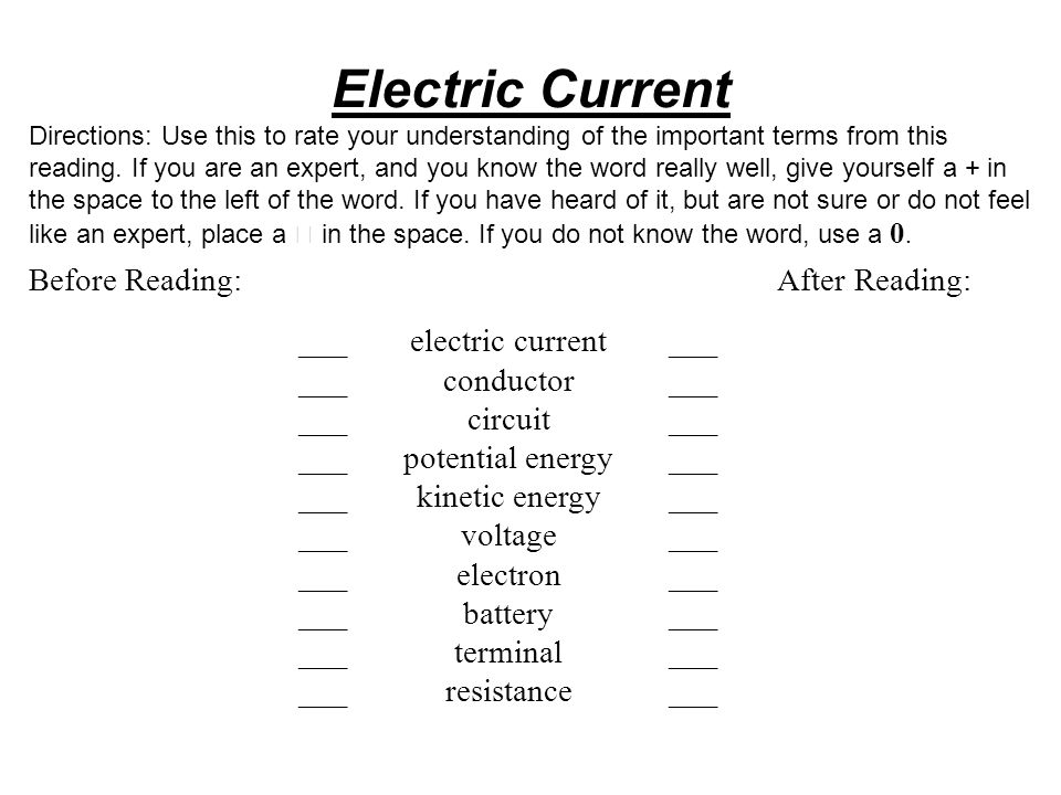 Electric Current Before Reading: After Reading: ___ electric current
