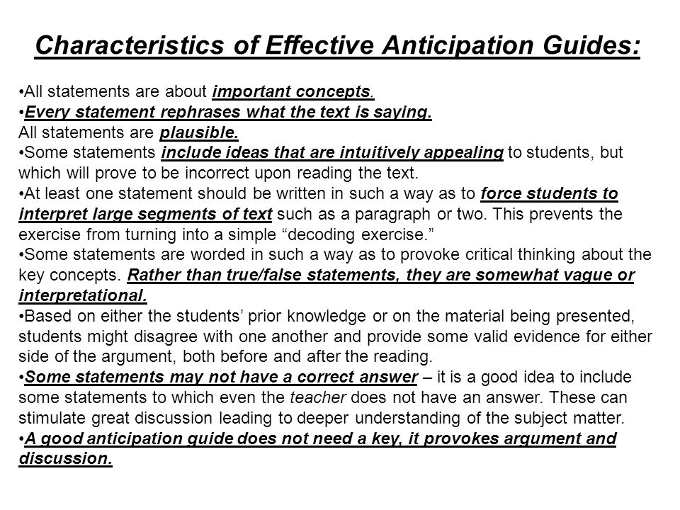 Characteristics of Effective Anticipation Guides: