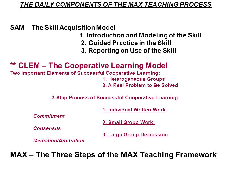 ** CLEM – The Cooperative Learning Model