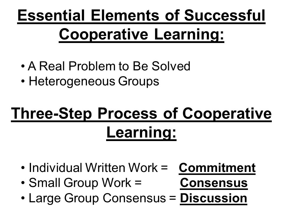 Essential Elements of Successful Cooperative Learning: