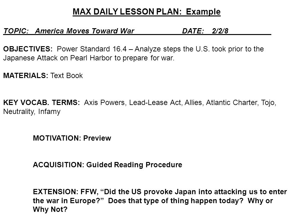 MAX DAILY LESSON PLAN: Example