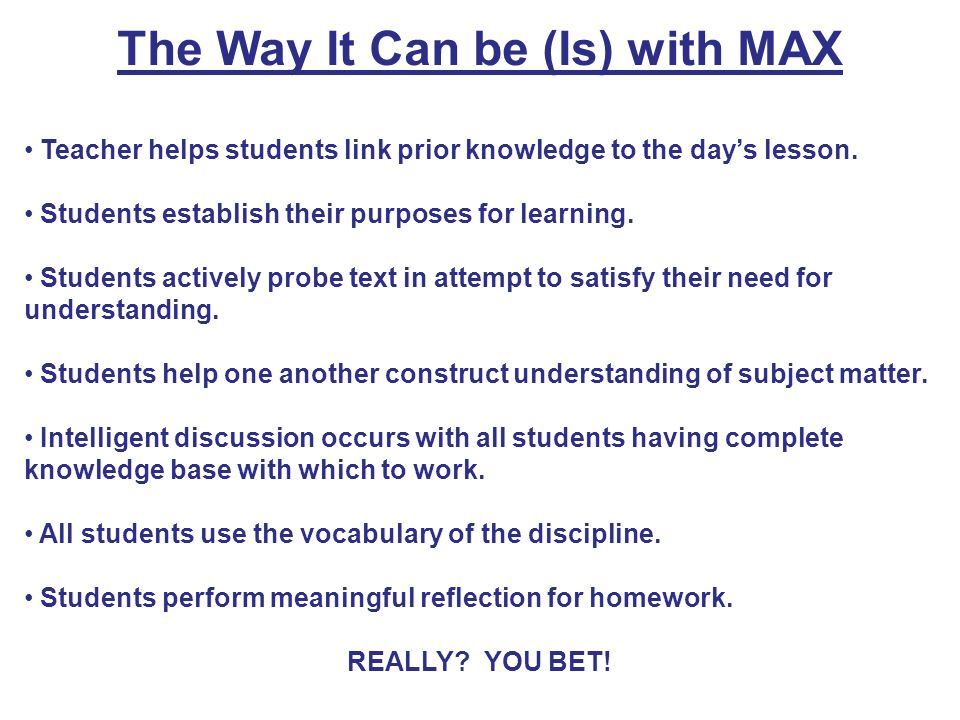 The Way It Can be (Is) with MAX