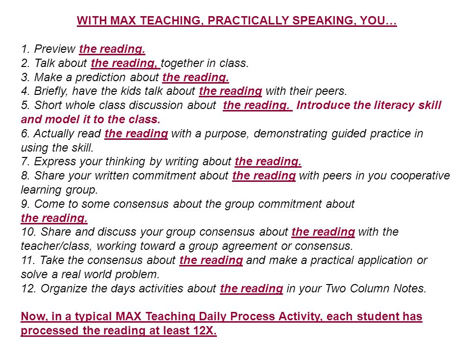 WITH MAX TEACHING, PRACTICALLY SPEAKING, YOU…