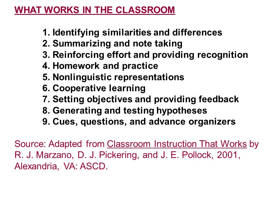 WHAT WORKS IN THE CLASSROOM