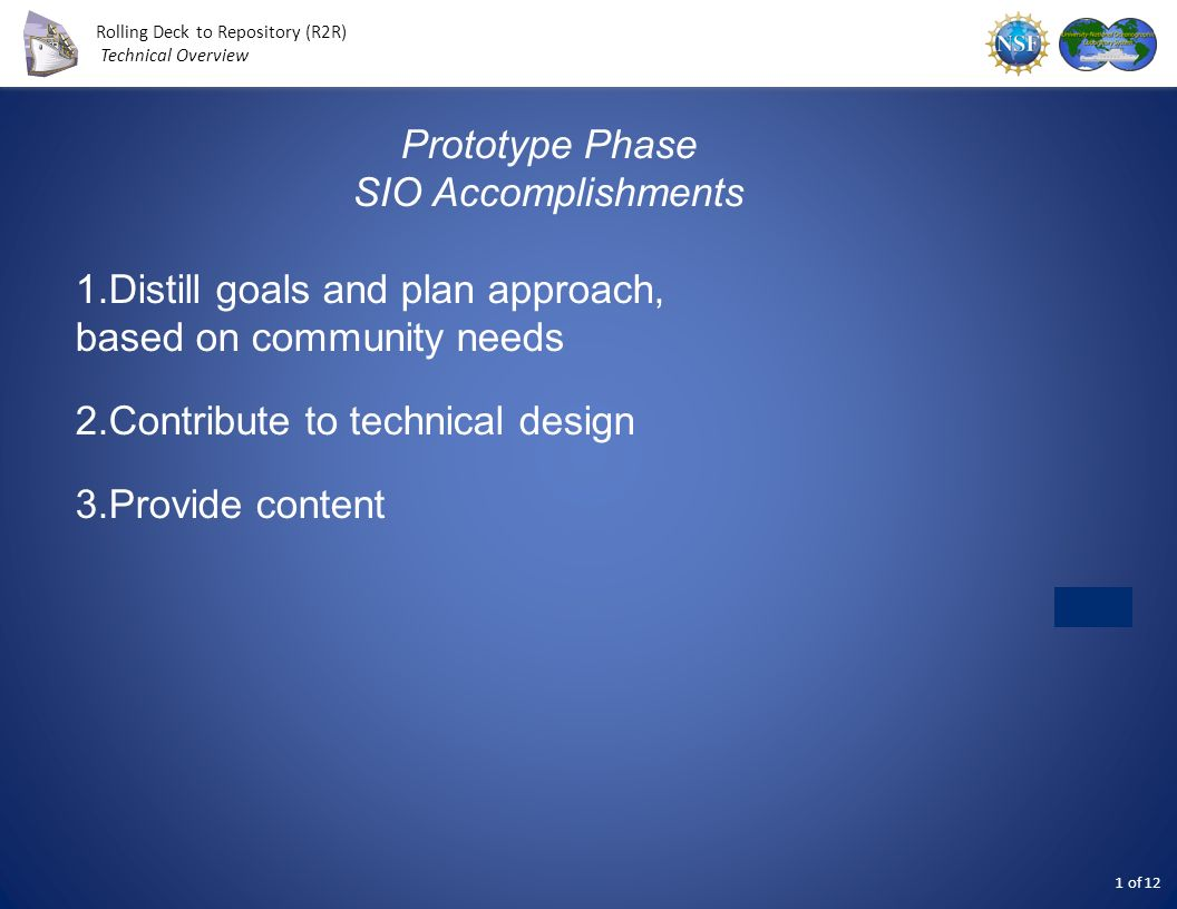 Prototype Phase SIO Accomplishments. Distill goals and plan approach, based on community needs. Contribute to technical design.