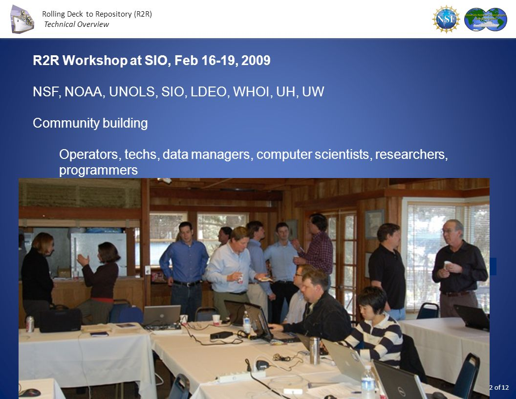 R2R Workshop at SIO, Feb 16-19, 2009 NSF, NOAA, UNOLS, SIO, LDEO, WHOI, UH, UW. Community building.