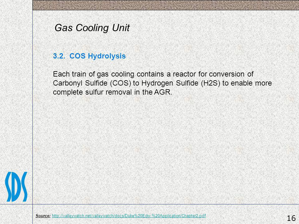 Gas Cooling Unit 3.2. COS Hydrolysis