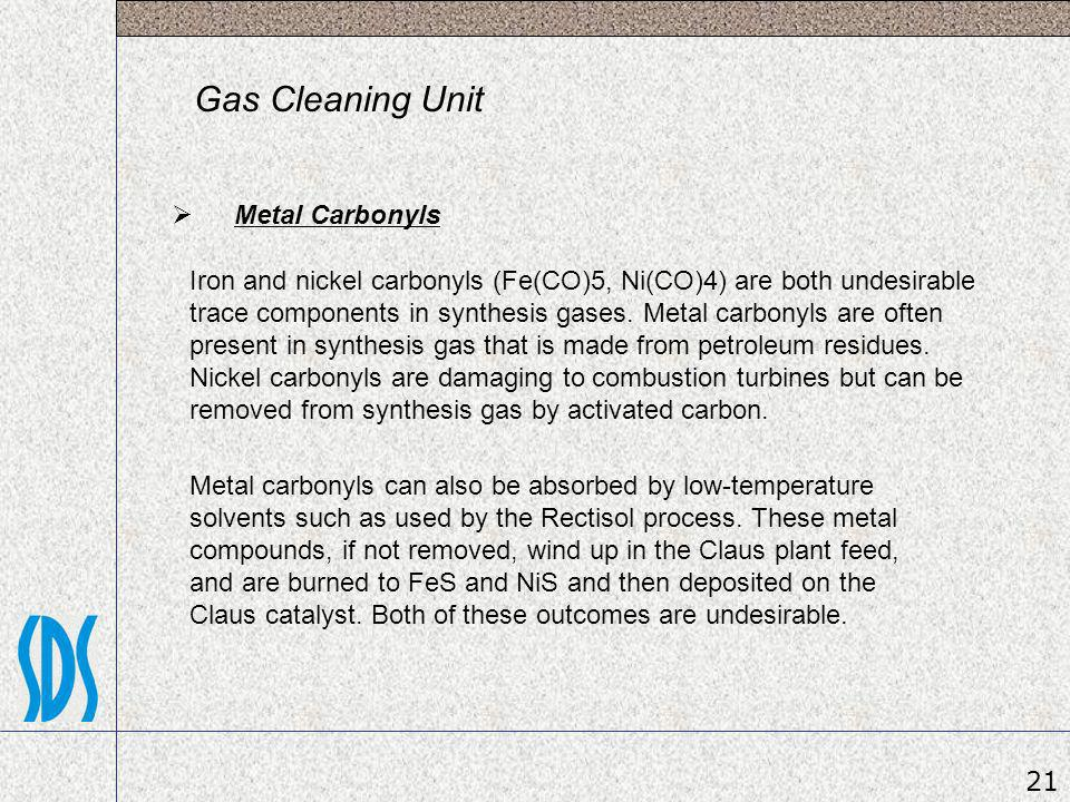 Gas Cleaning Unit Metal Carbonyls