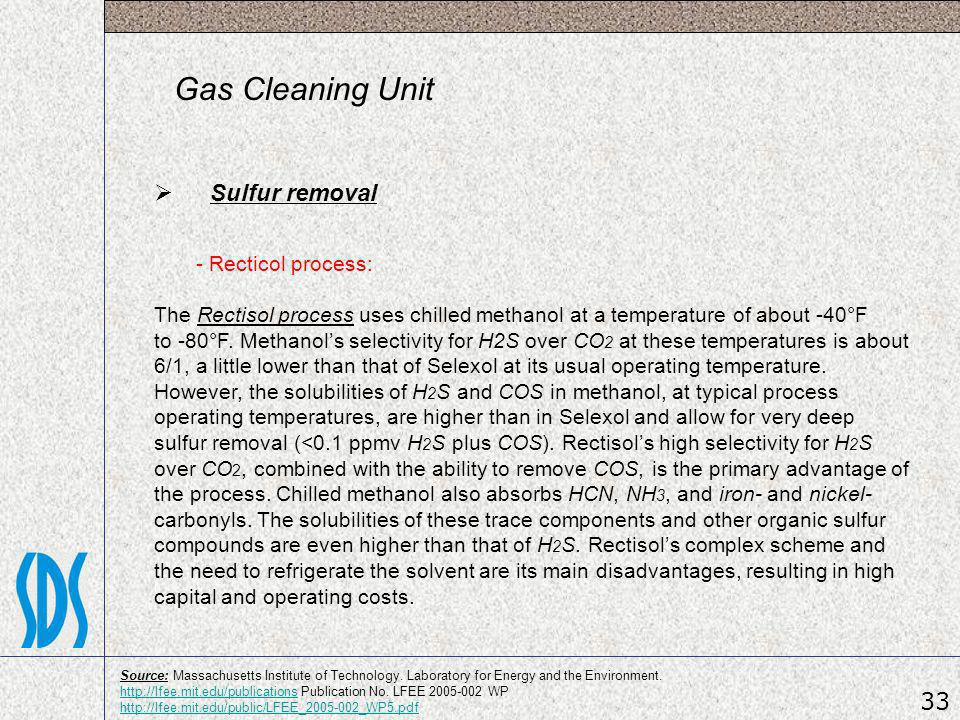 Gas Cleaning Unit Sulfur removal 33 - Recticol process: