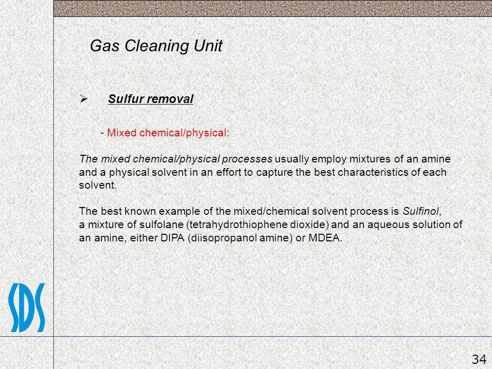 Gas Cleaning Unit Sulfur removal 34 - Mixed chemical/physical: