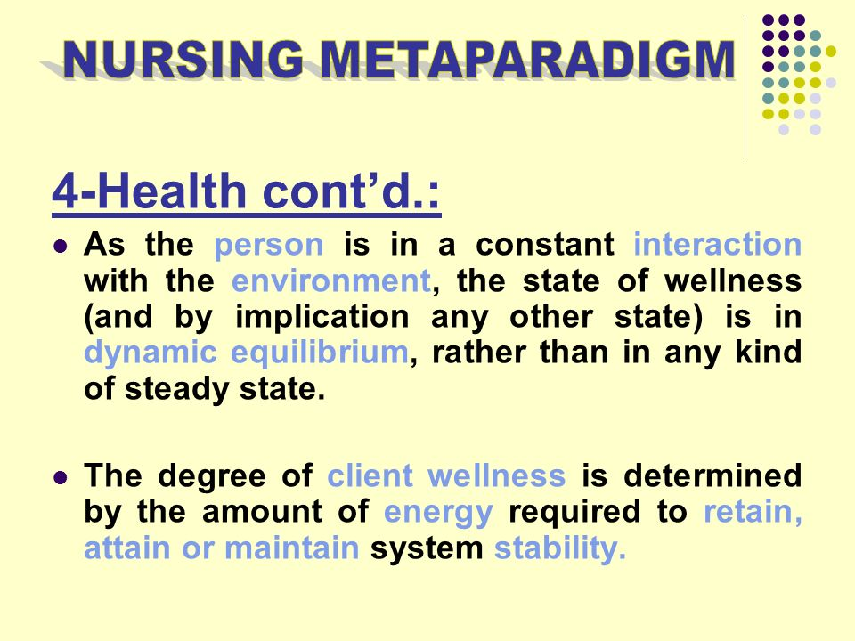 the metaparadigm of nursing present status In these examples, i'll present examples of statements of assumptions, beliefs, and values related to each of the nursing metaparadigm concepts i won't link the statements to any specific theorist, i just want you to get an idea of how to recognize assumptions, beliefs, and values.