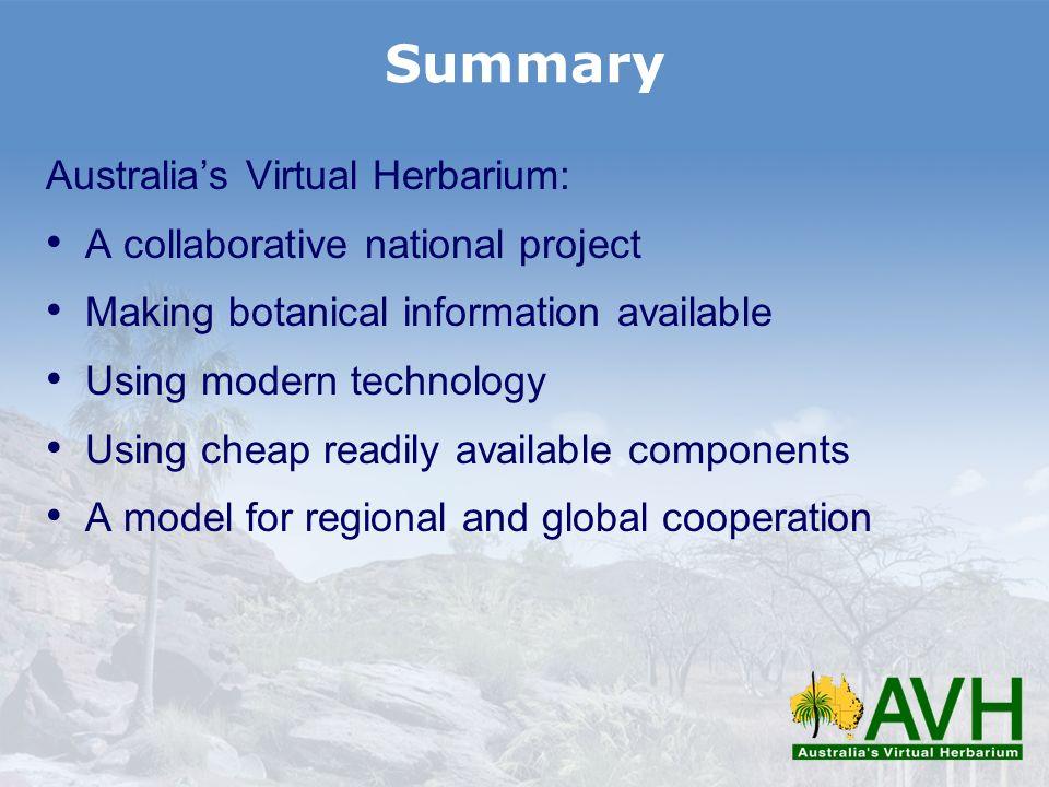 Summary Australia's Virtual Herbarium: