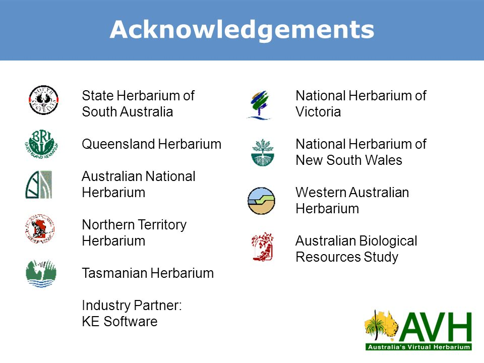 Acknowledgements State Herbarium of South Australia