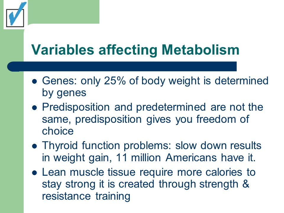 Variables affecting Metabolism