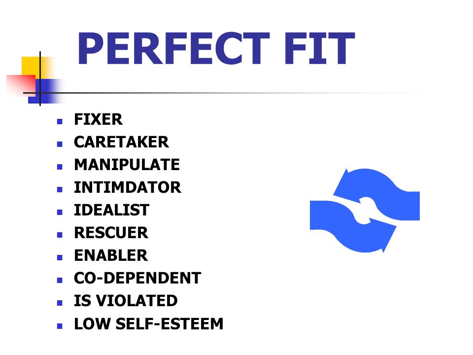 PERFECT FIT FIXER CARETAKER MANIPULATE INTIMDATOR IDEALIST RESCUER