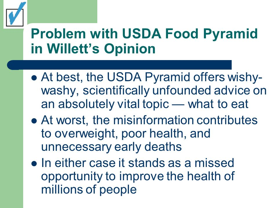 Problem with USDA Food Pyramid in Willett's Opinion