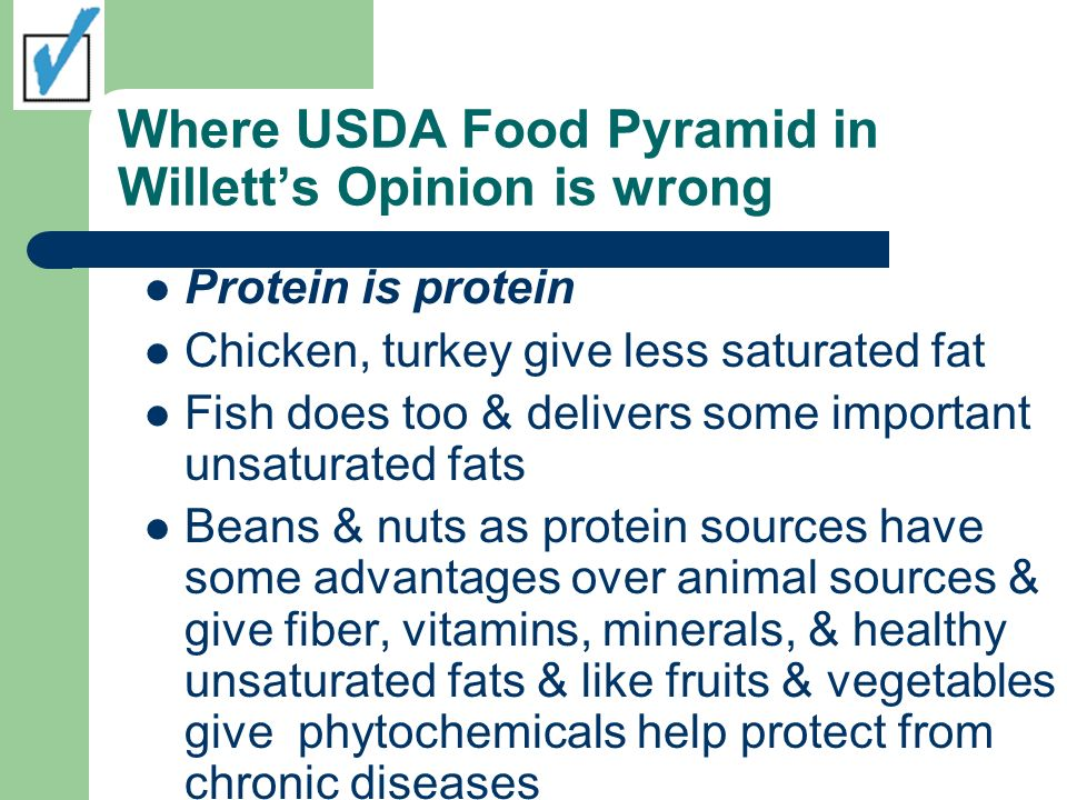 Where USDA Food Pyramid in Willett's Opinion is wrong