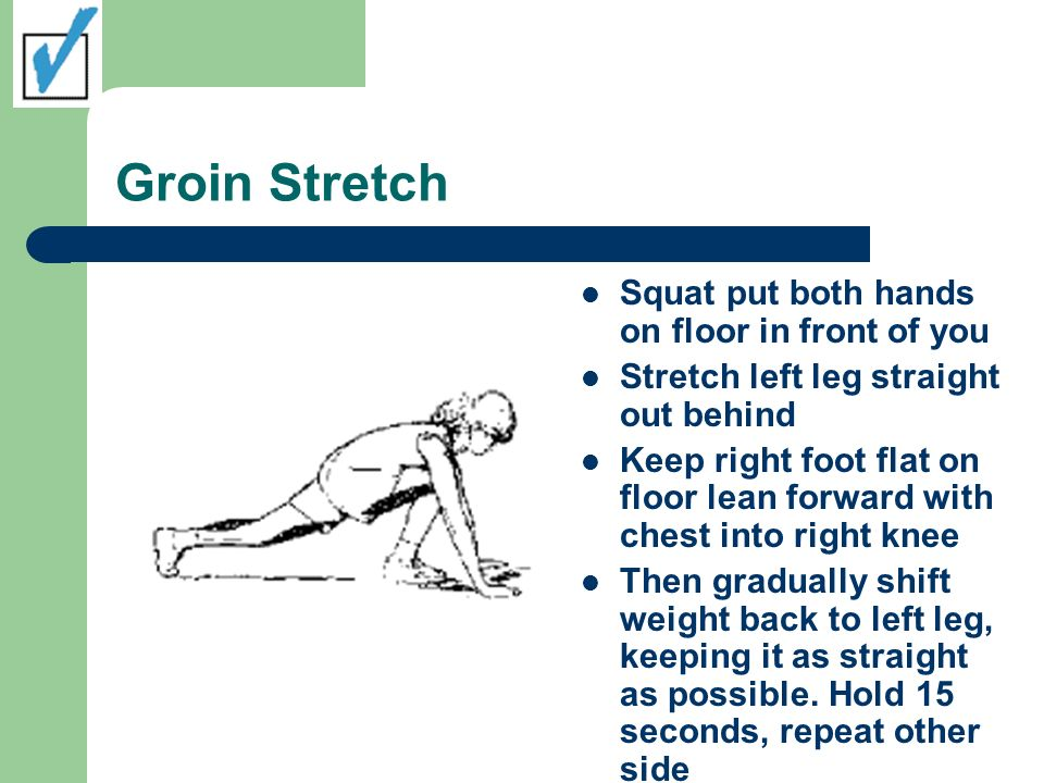 Groin Stretch Squat put both hands on floor in front of you