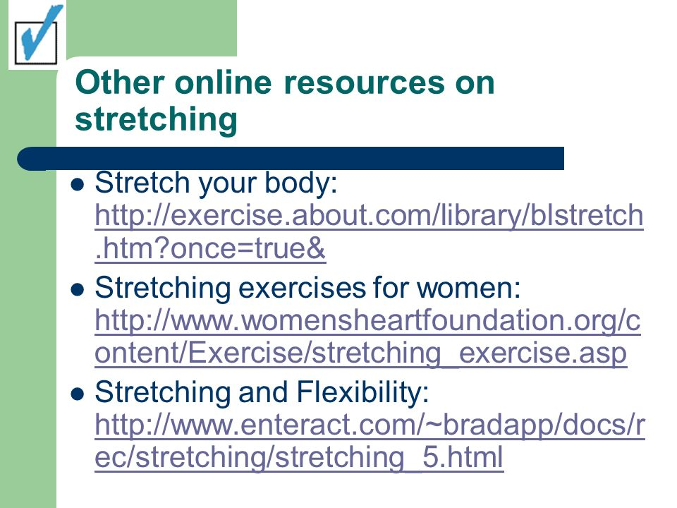 Other online resources on stretching