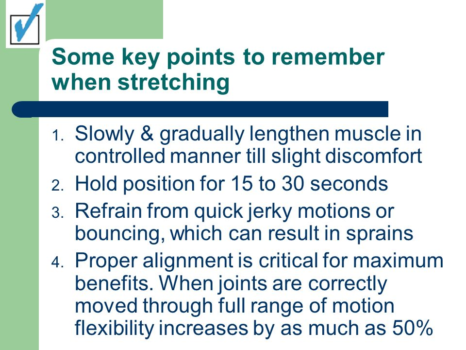 Some key points to remember when stretching