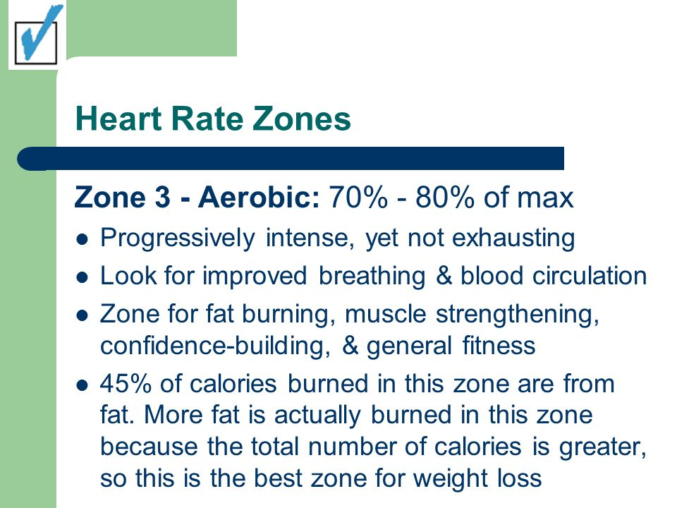 Heart Rate Zones Zone 3 - Aerobic: 70% - 80% of max