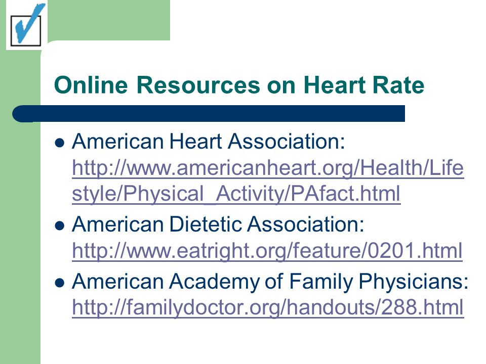 Online Resources on Heart Rate