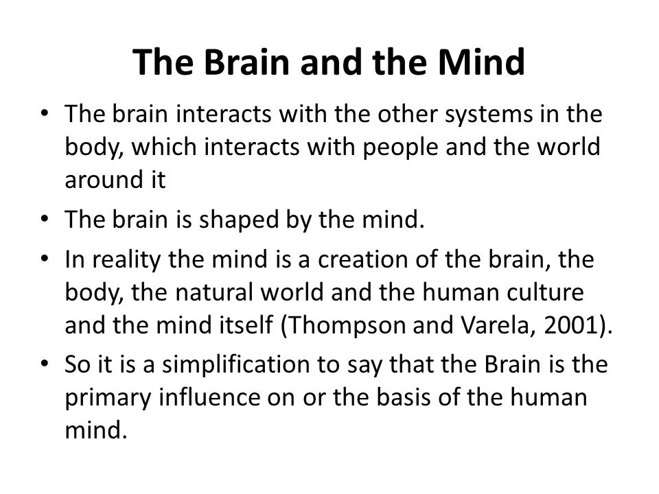 The Brain and the Mind The brain interacts with the other systems in the body, which interacts with people and the world around it.