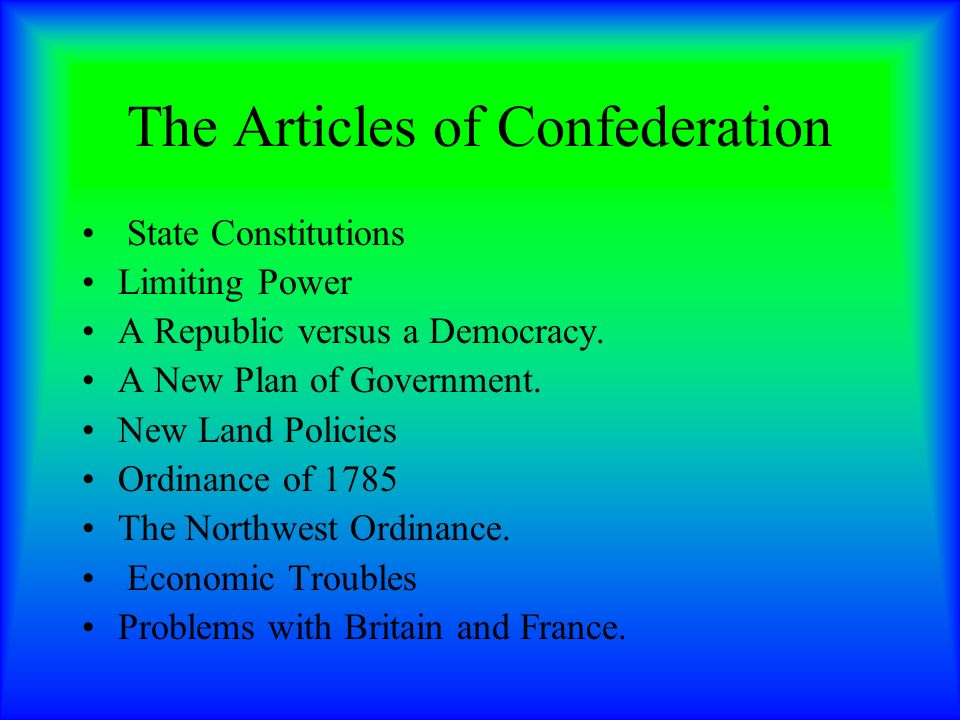 the articles of confederation versus the This lesson focuses on the problems under the articles of confederation between  1783 and 1786 leading to the 1787 convention.