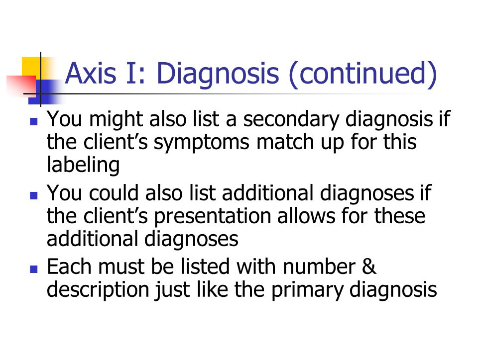 Axis I: Diagnosis (continued)
