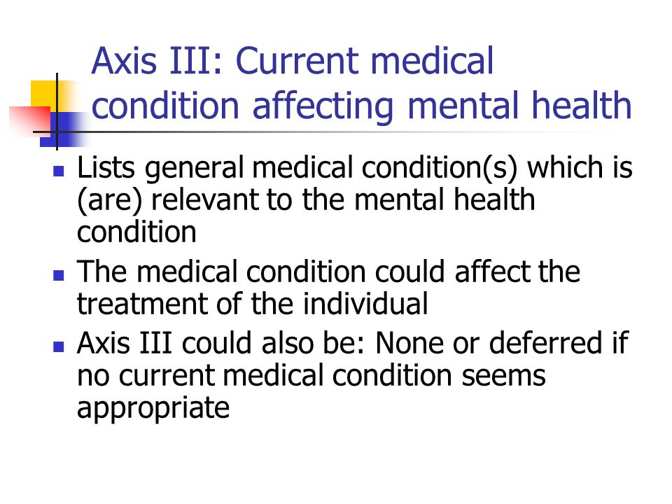 Axis III: Current medical condition affecting mental health