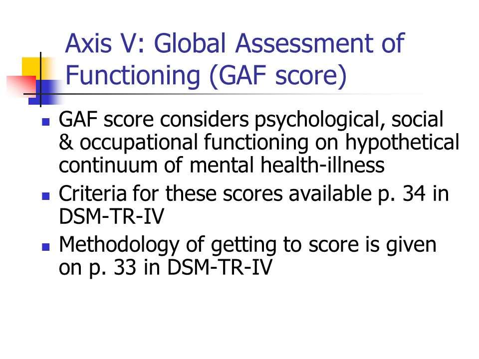 Axis V: Global Assessment of Functioning (GAF score)