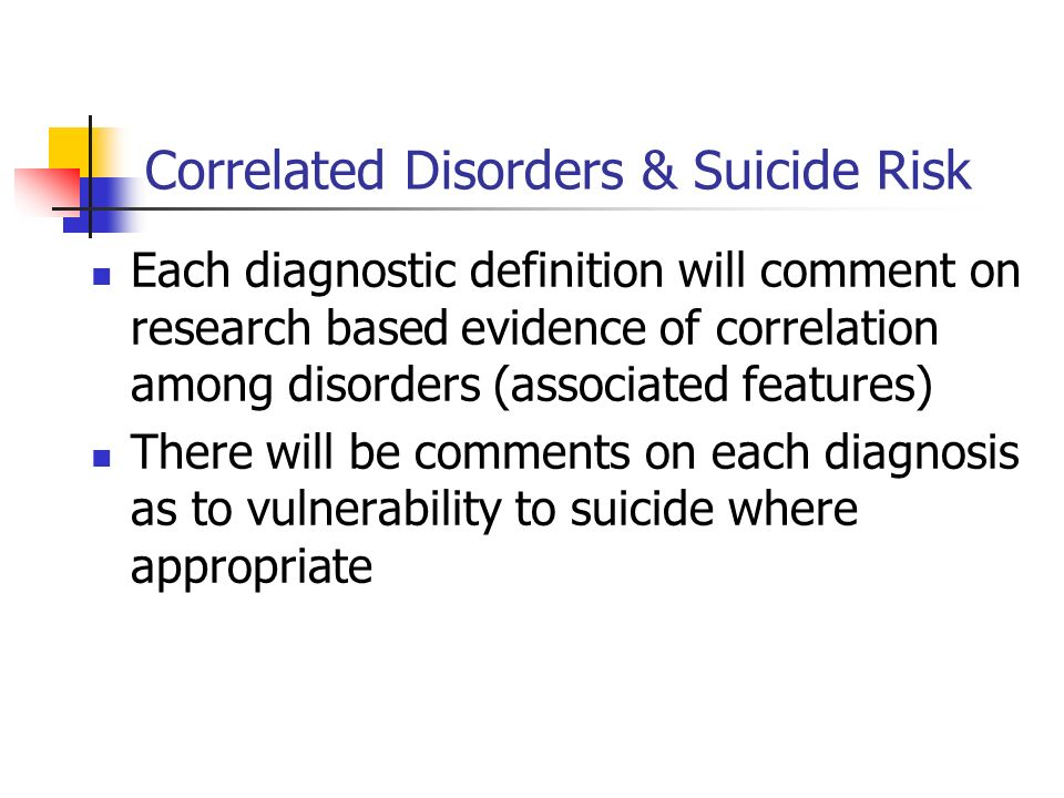 Correlated Disorders & Suicide Risk