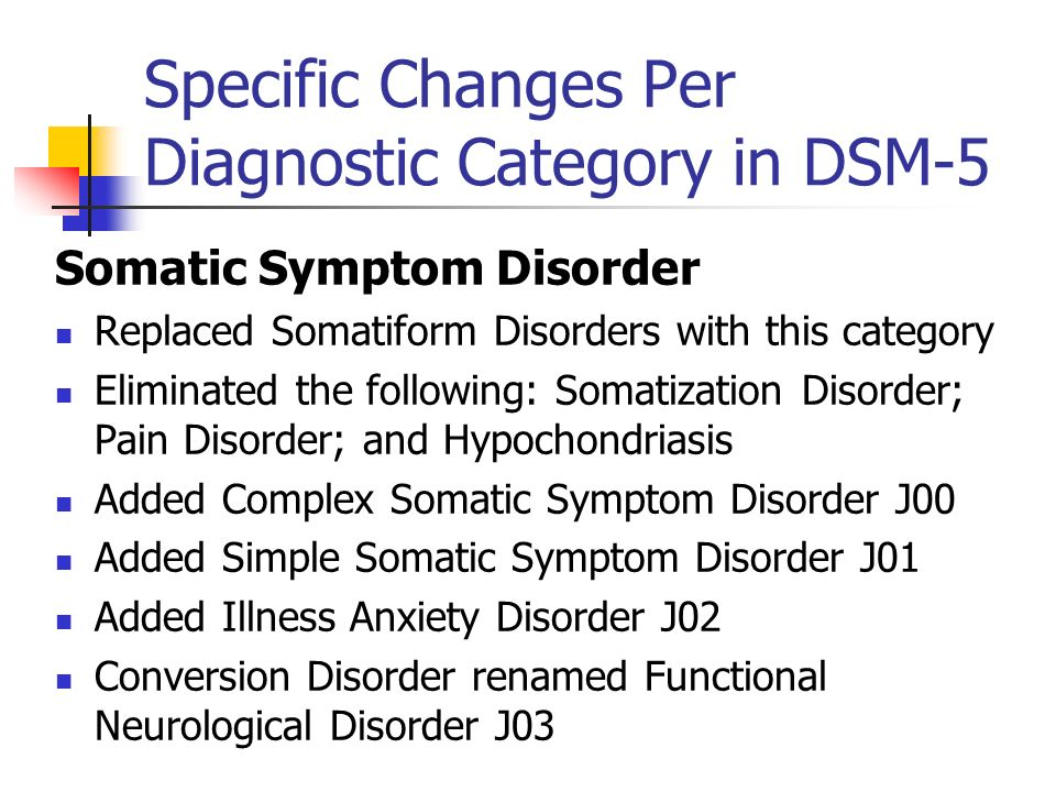 Specific Changes Per Diagnostic Category in DSM-5