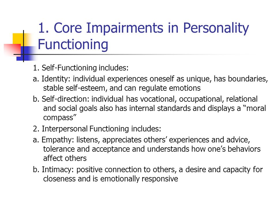 1. Core Impairments in Personality Functioning