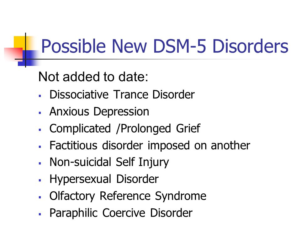 Possible New DSM-5 Disorders
