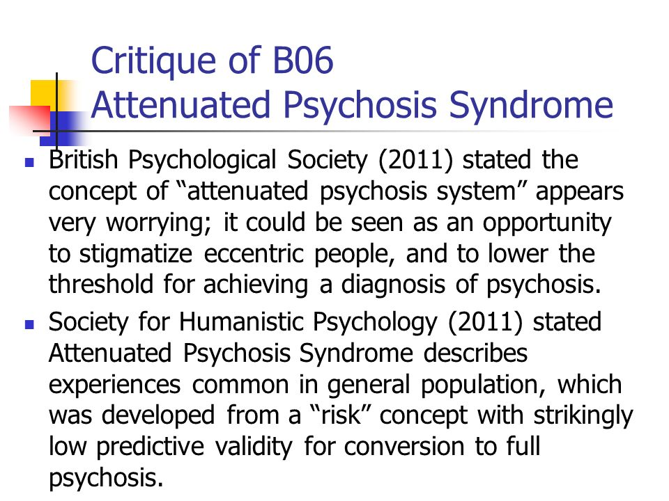 Critique of B06 Attenuated Psychosis Syndrome