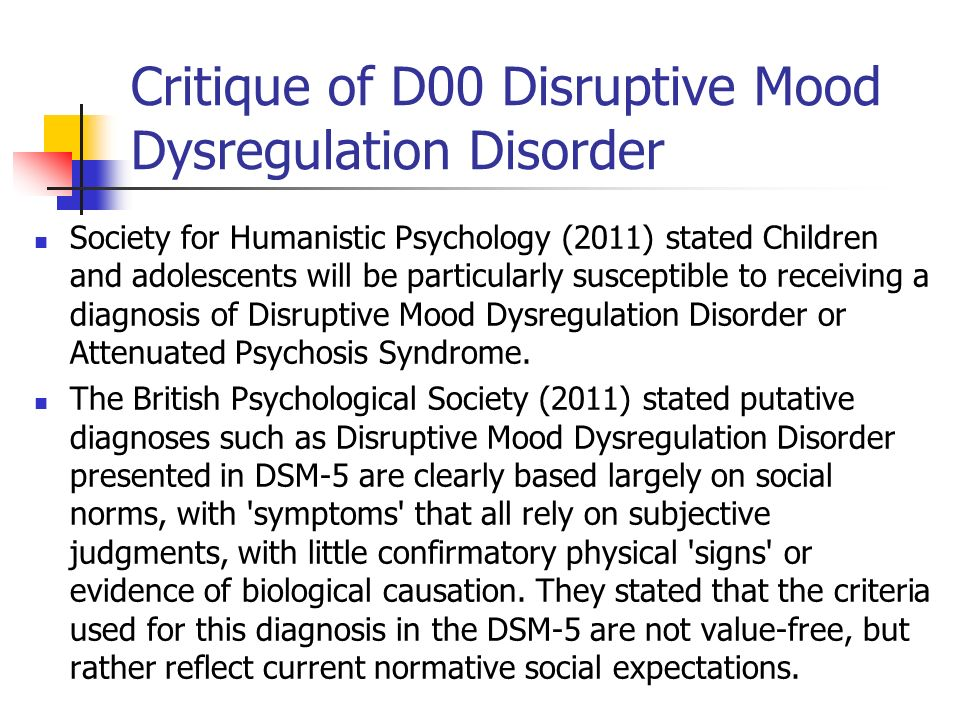 Critique of D00 Disruptive Mood Dysregulation Disorder