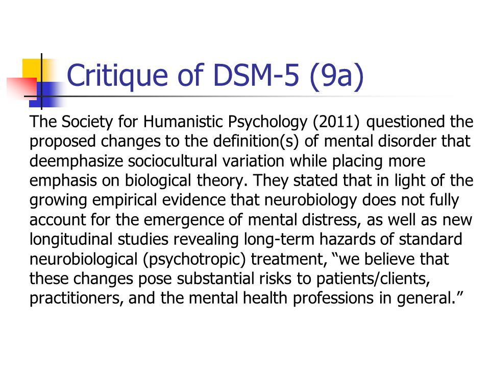 Critique of DSM-5 (9a)