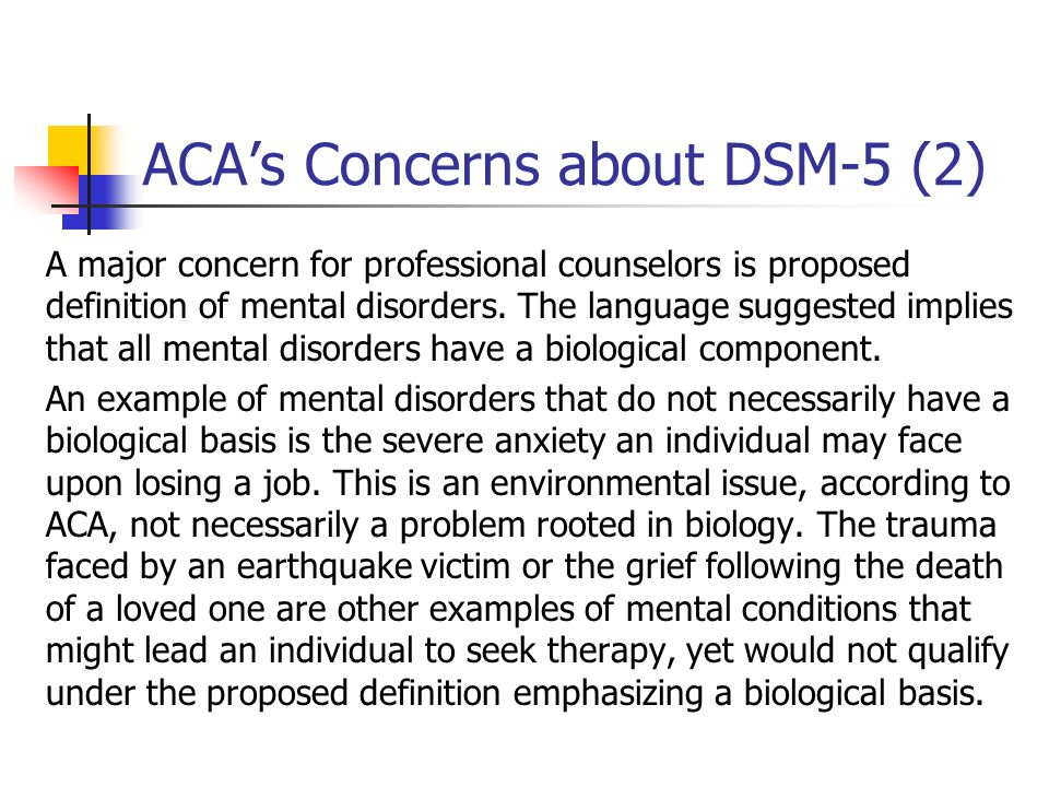 ACA's Concerns about DSM-5 (2)