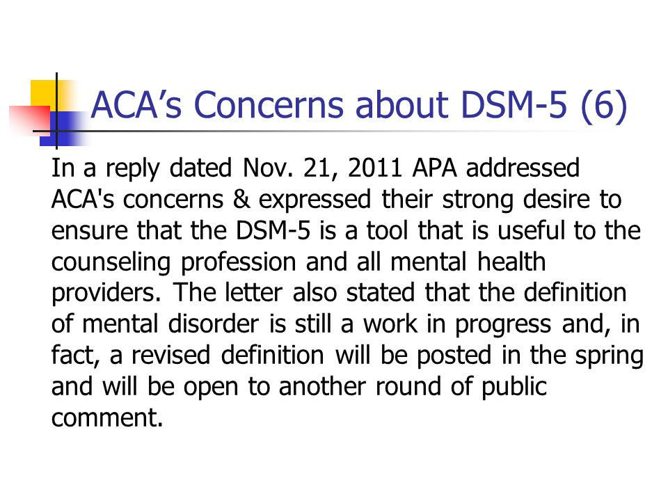 ACA's Concerns about DSM-5 (6)