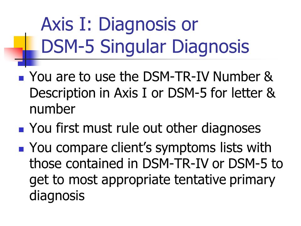 Axis I: Diagnosis or DSM-5 Singular Diagnosis