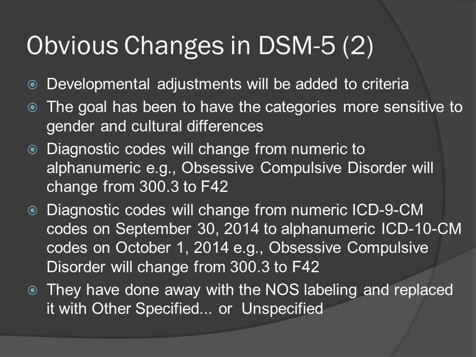 Obvious Changes in DSM-5 (2)